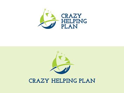 Crazy Helping Plan concept flat art creative black blue design graphic market logo