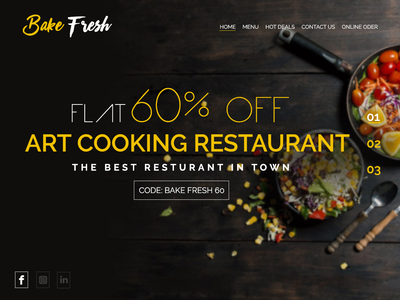 Bake Fresh -Web Template Design by PMASS India digital graphic clean art concept resturant cooking flat creative web templates design