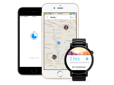 Downtime android wear mockup material iphone app