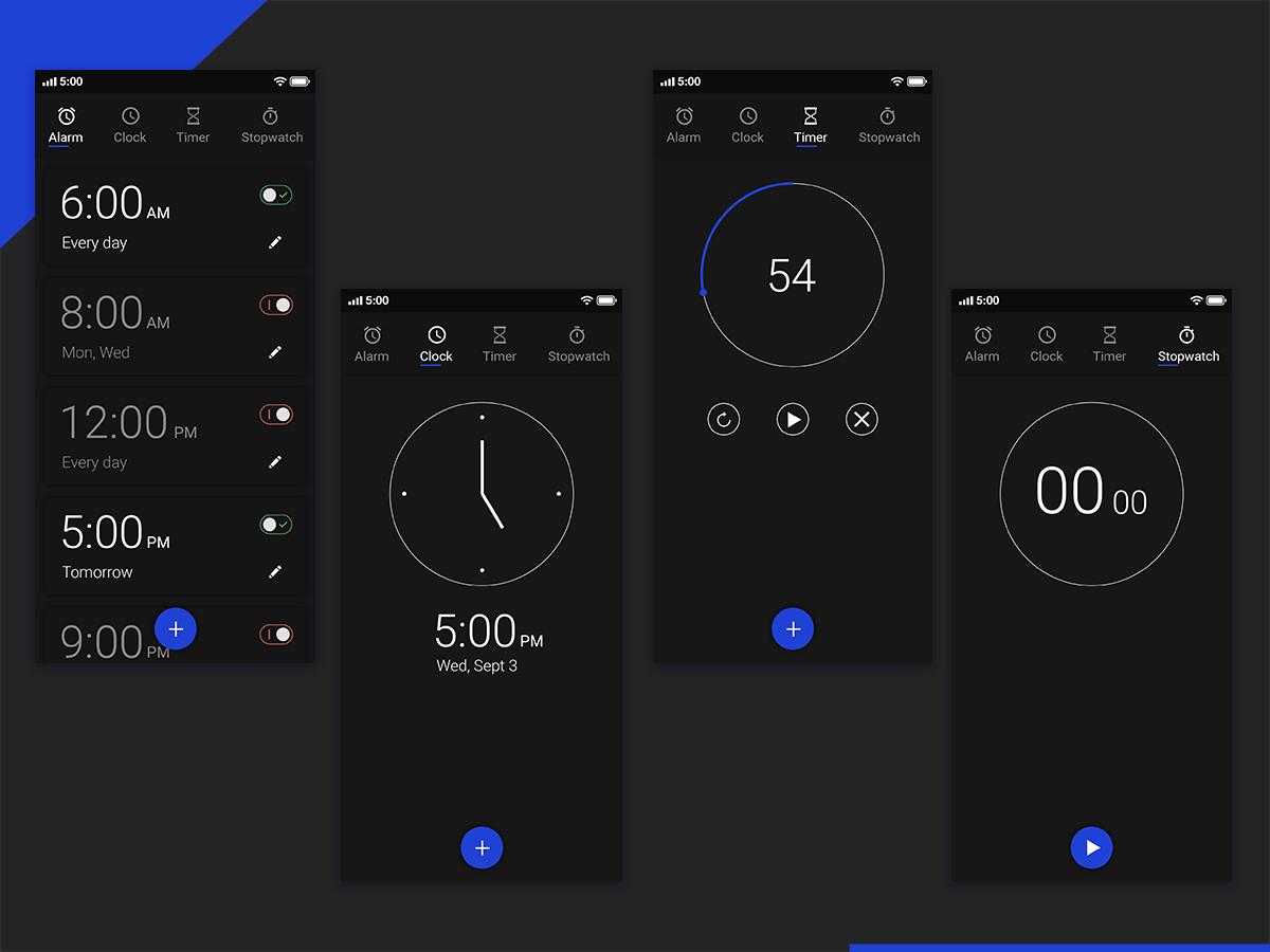 Clock App UI flat ui mockup dribbbler deribbble concept ui concept ux ui dark ui design timer stopwatch alarm clock