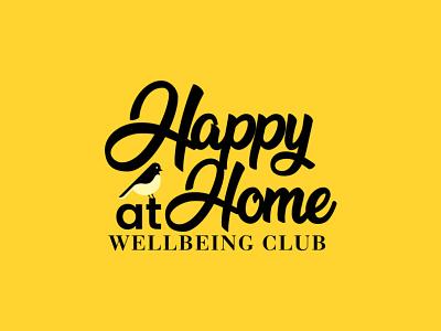 Happy At Home happy holidays homely happiness logomark creative logo realestate bird logo typogaphy logo design happy home logo
