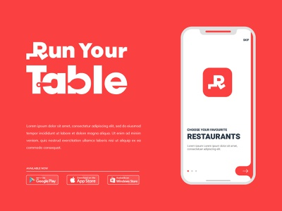 Run Your table spoon logo typography lettermark eat creative restaurant minimal food delivery app delivery