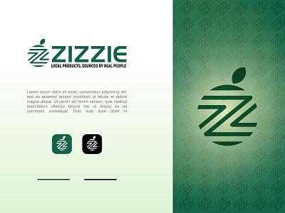 Zizie Logo greens organic food fruits green z logo organic agriculture creative logo