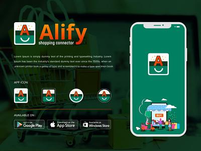 Alify Logo online shop logo shop a logo creative logo branding colorful logo shopping bag shopping app shopify ecommerce