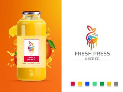 Fresh press Juice Co. Logo food and drink juice box juice packaging juice fresh food fruits juice logo fresh logo colorful logo branding illustration