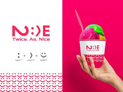 Twice As Nice Logo drinks beverage design food and drink logoconcept logocreation logoshift logotipos ice cream colorful logo logo design typography