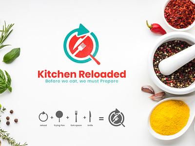 Kitchen Reloaded Logo frying pan knife spoon food kitchenware reload food and beverage homedecor kitchendecor interiordesign kitchen kitchendesign