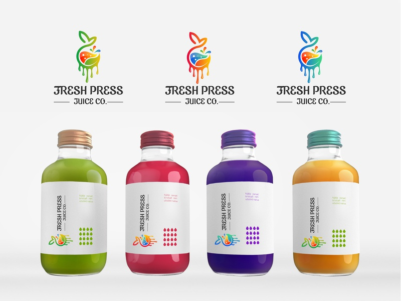 Fress Juice Logo creative  logo juice juice bar juice logo clean logo colorful logo icon business logo design vector logo design branding design logo