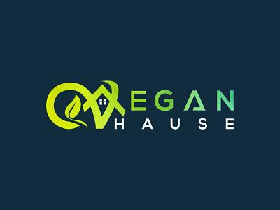 Vegan hause logo letter creative logo typography colorful logo business logo design natural vegan hause hause logo veagn logo design