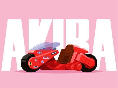 Akira motorcycle car anime motorbike motorcycle akira flat vector illustration