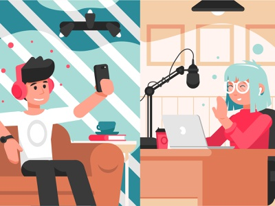 Streaming interview podcast interview character flat vector illustration