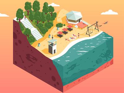 academ beach cube sunny sea beach isometric landscape flat vector illustration