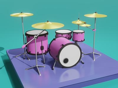 Pink drums 3d art drums blender3dart 3d blender illustraion