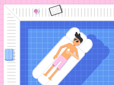 Pool landscape relaxing chill pool character flat vector illustration