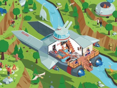Spot & Choo's vikings dinosaurs spaceship burgers isometry game art landscape flat vector illustration