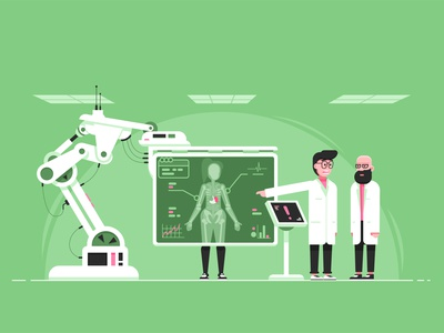 X-ray diagnostic patient medecine doctor x-ray landscape game art character flat vector illustration
