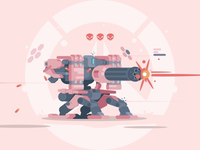 Bastion weapon bastion overwatch character flat vector illustration