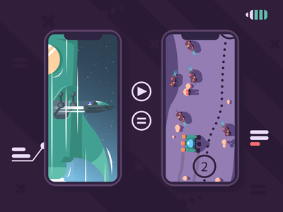 100portals pt.1 iphone landscape game flat vector illustration