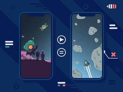 100portals pt.2 iphone game landscape flat vector illustration