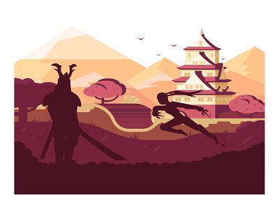 Japan samurai ninja japan landscape castle character flat vector illustration