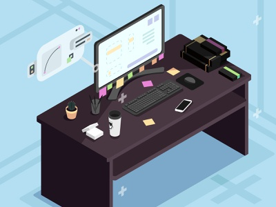 Work place isometric workplace design isometry vector illustration