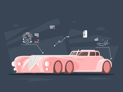 6 wheels oldschool design car flat vector illustration