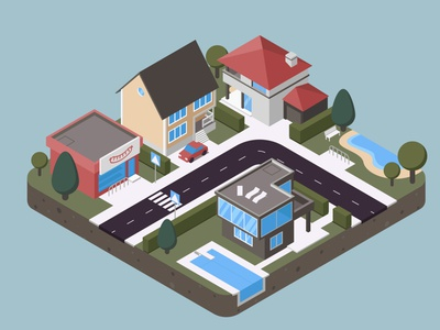 city project house geometic isometry city flat vector illustration