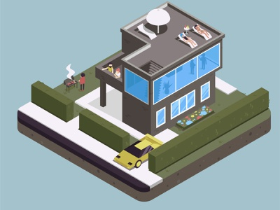 city project 2 party isometry geometic house city flat vector illustration