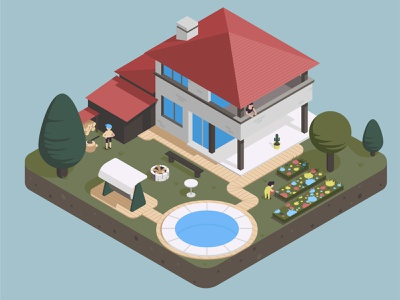 city project 3 house geometic isometry city flat vector illustration