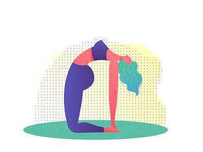 瑜伽女孩儿 健美 健身 插画 锻炼 yoga 女孩儿 瑜伽