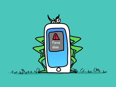 Cellbug iphone bug android bug force close bug cell illustration blog article image descriptive illustration funny illustration illustration cell bug
