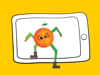 orange illustration coming out of tablet
