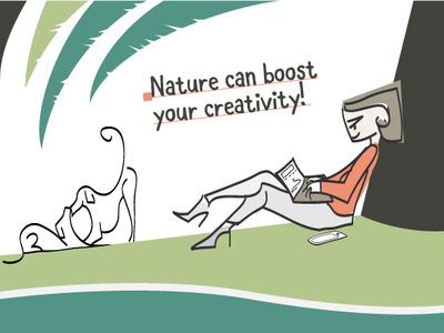 Working in the park nature laptop freelancer animals illustration