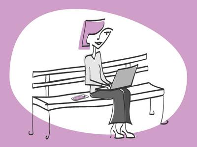 Working at the Park line art laptop park illustration freelancer