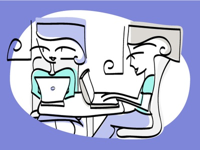 Small Coworking Space line art illustration coworking space
