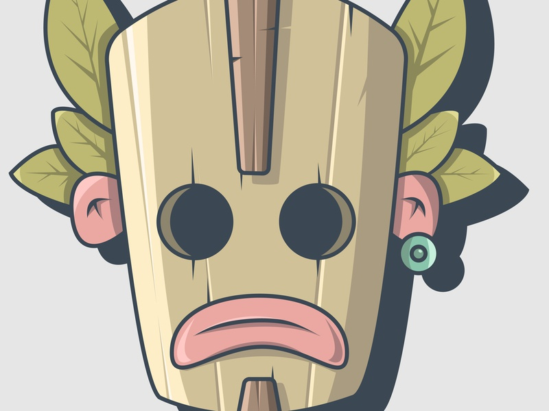 Tiki Mask 01 ui web xs ux scetch animation branding art adobe illustrator dribbble gradient design crypto color behance vector character illustration currency