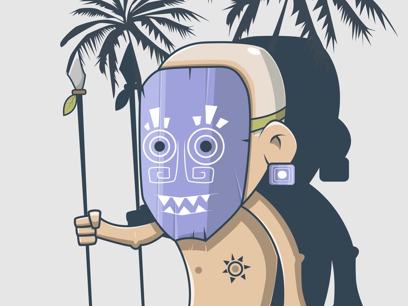 Polynesian Hunter type flat web xs typography branding art adobe illustrator dribbble gradient design color ux behance vector ui character illustration currency