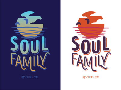 Soul Family kitesurf vector logo illustration egypt surf beach t-shirt apparel