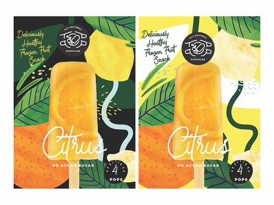 TopPop Citrus typography tropical plants branding packaging illustration