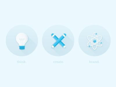 think. create. brand. blue design winning media think create brand flat icons