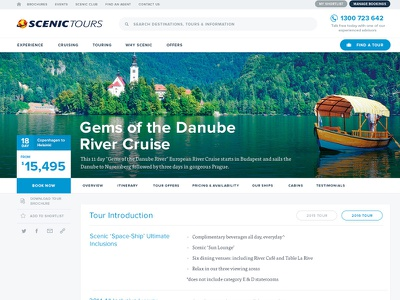 Scenic Tours Tour Page scenic tours website holiday travel clean