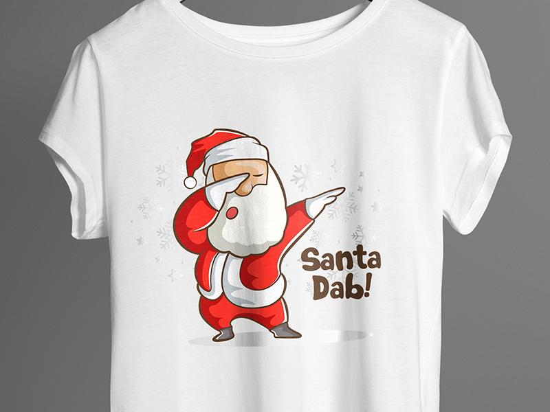 Cute Santa Dab - T Shirt Design happy winter christmas santa famous unique design enjoy 99 designs design t shirt