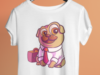 Cute Pug With Bag- T Shirt Design