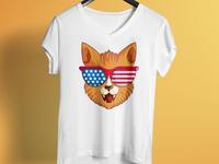Cute American Cat T shirt Design