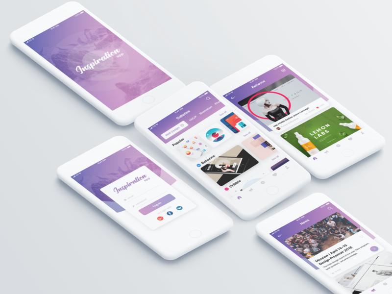 Inspiration App Concept login design purple inspiration design mobile app ux ui figma