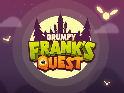 Grumpy Frank's Quest 3d logo cartoon logo kids logo halloween clean design vibrant mobile game logo mobile game title boardgames game design game logo title design game title