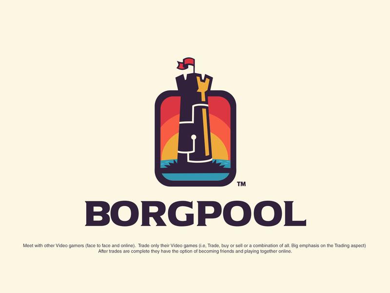 Borgpool studio logo title design boardgame boardgames fun branding logo design branding logo design