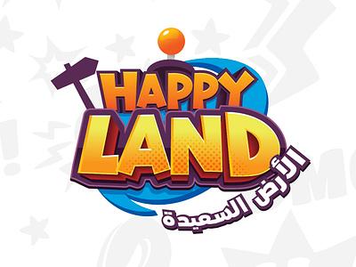 Happy land park game branding mobile game boardgame title logo title design game logo entertainment park logo