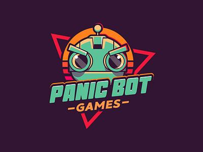 Panic Bot Studios games game app panic bot robot line art logo cartoon logo branding game branding studio studio logo