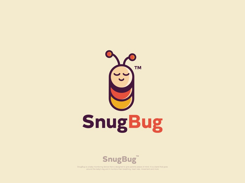SnugBug snug sleeping bug branding vector cartoon logo logo illustration flat logodesign